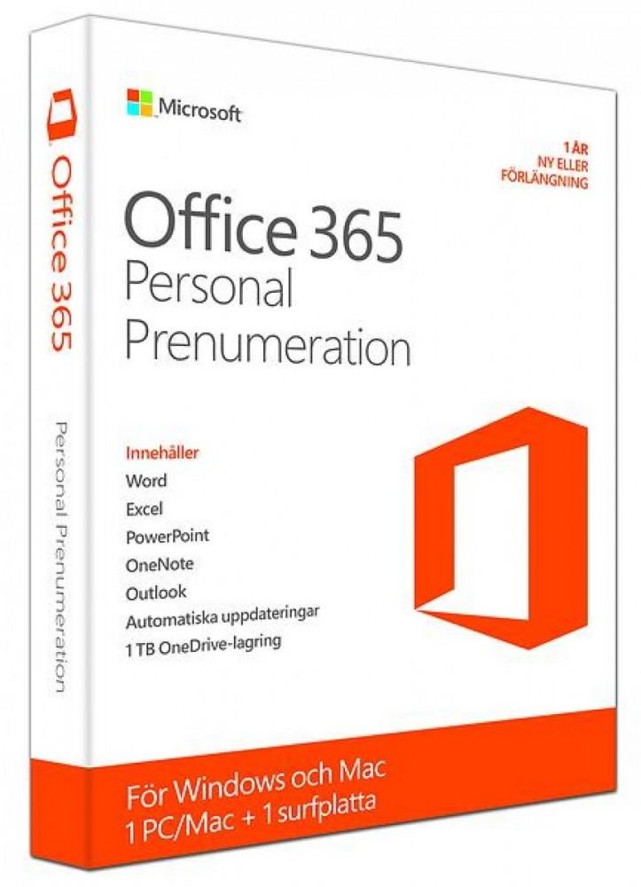 Microsoft OFFICE 365 PERSONAL SWEDISH 1 PC/MAC +