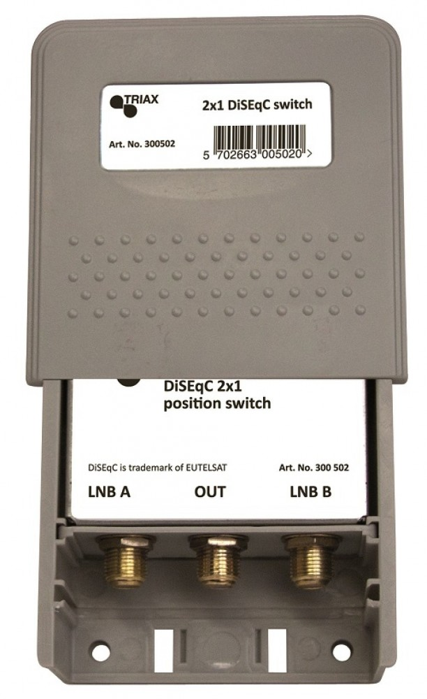 Triax DiSEqC 502 2x1 switch, position, toneburst