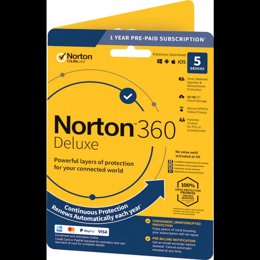 Symantec NORTON 360 DELUXE 1ÅR 1 ANVÄNDARE 5 ENHETER